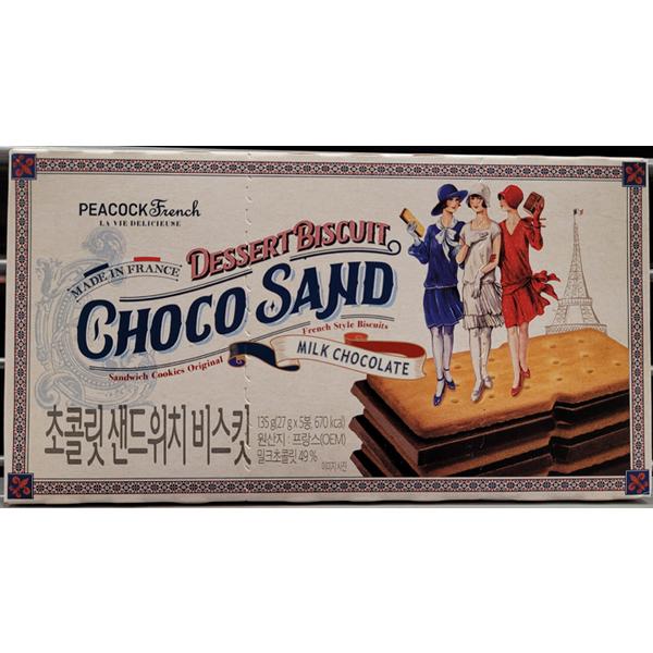 PEACOCK 피코크 초콜릿 샌드위치 비스킷135g (27g X 5봉) 비스켓