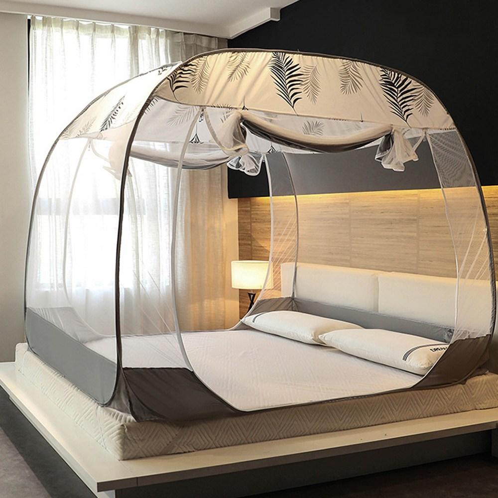 원터치모기장 텐트형 사각침대모기장 디자인 모기장, 트로피칼 그레이(M-GR03)