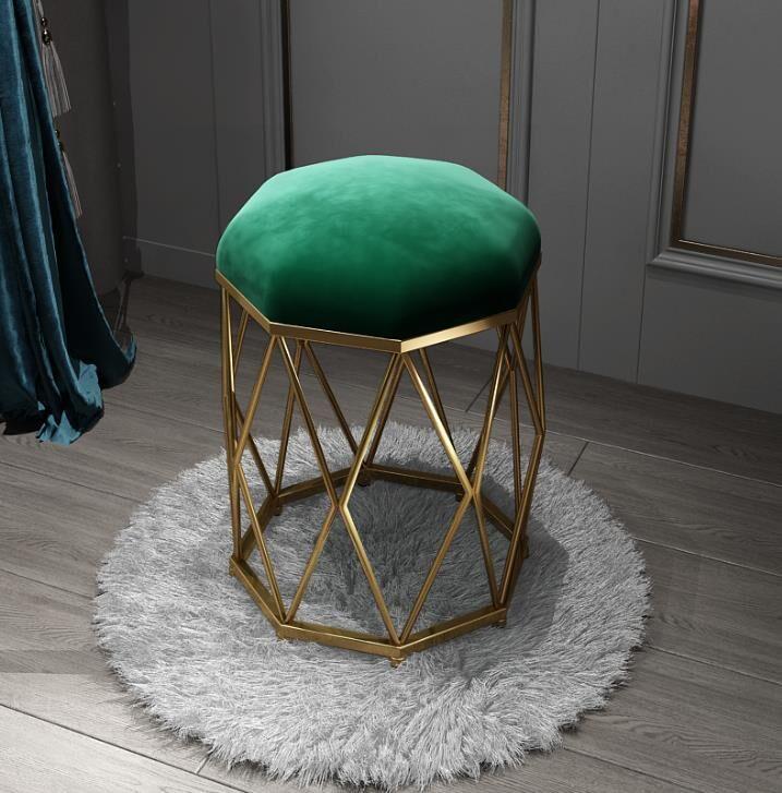 북유럽 화장대 의자 골드 철재 금색 스툴, 진한 녹색 + 황금 팔각형 의자