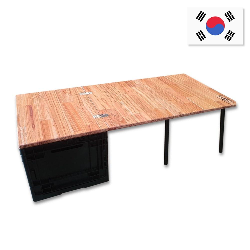 캠핑스토리 3단 우드 접이식 캠핑테이블 폴딩박스 차박테이블 캠핑키친테이블, 가로형 테이블 + 폴딩박스