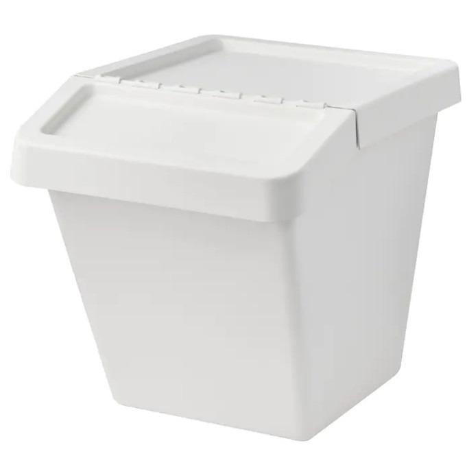 소르테라 분리수거함 재활용 휴지통 쓰레기통 다용도수납함, 화이트60L, 1개
