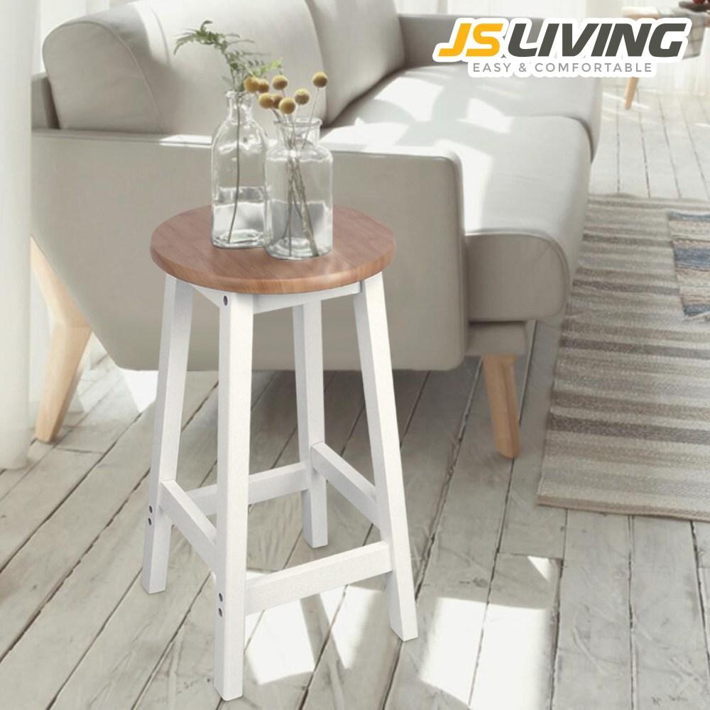 [JS가구] 트롤리 의자 인테리어 원목 스툴, 원형원목[우드]