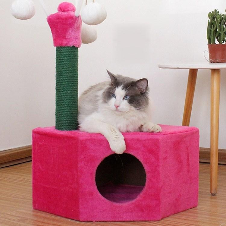 미래물 캣타워 소형 플레이트 캣츠가 기둥을 잡고 고양이 인형 놀리기ZZW, 1개, 레드A1