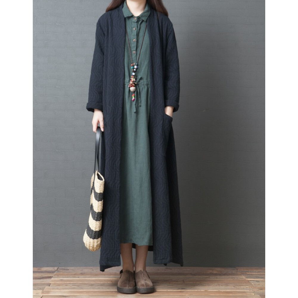 LONGZHIMEI 롱 즈 메 이 트 렌치 코트 여성 2020 년 레 로 와 드 빅 사이즈 패션 면 마 카디건 블랙 M