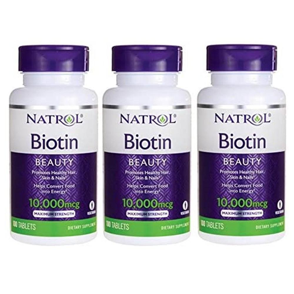 Natrol Biotin 나트롤 비오틴 10000Mcg 100정 3병, 1개, 제품 제목 참조