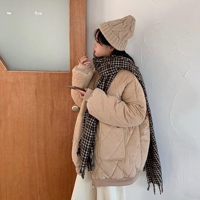 피팅바이유 여자 골덴(코듀로이) 심플 누빔패딩(2컬러)