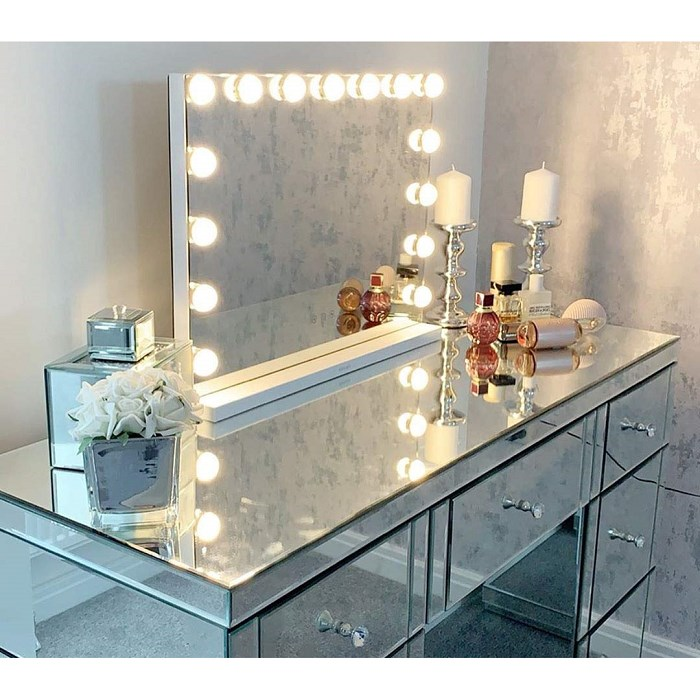 Hansong Large Vanity Makeup Mirror with Lights Hollywood Lighted Dressing Tabletop or Wall Mounted Beauty Mirrors 15 pcs Led Bulbs Detacha, One Size, white
