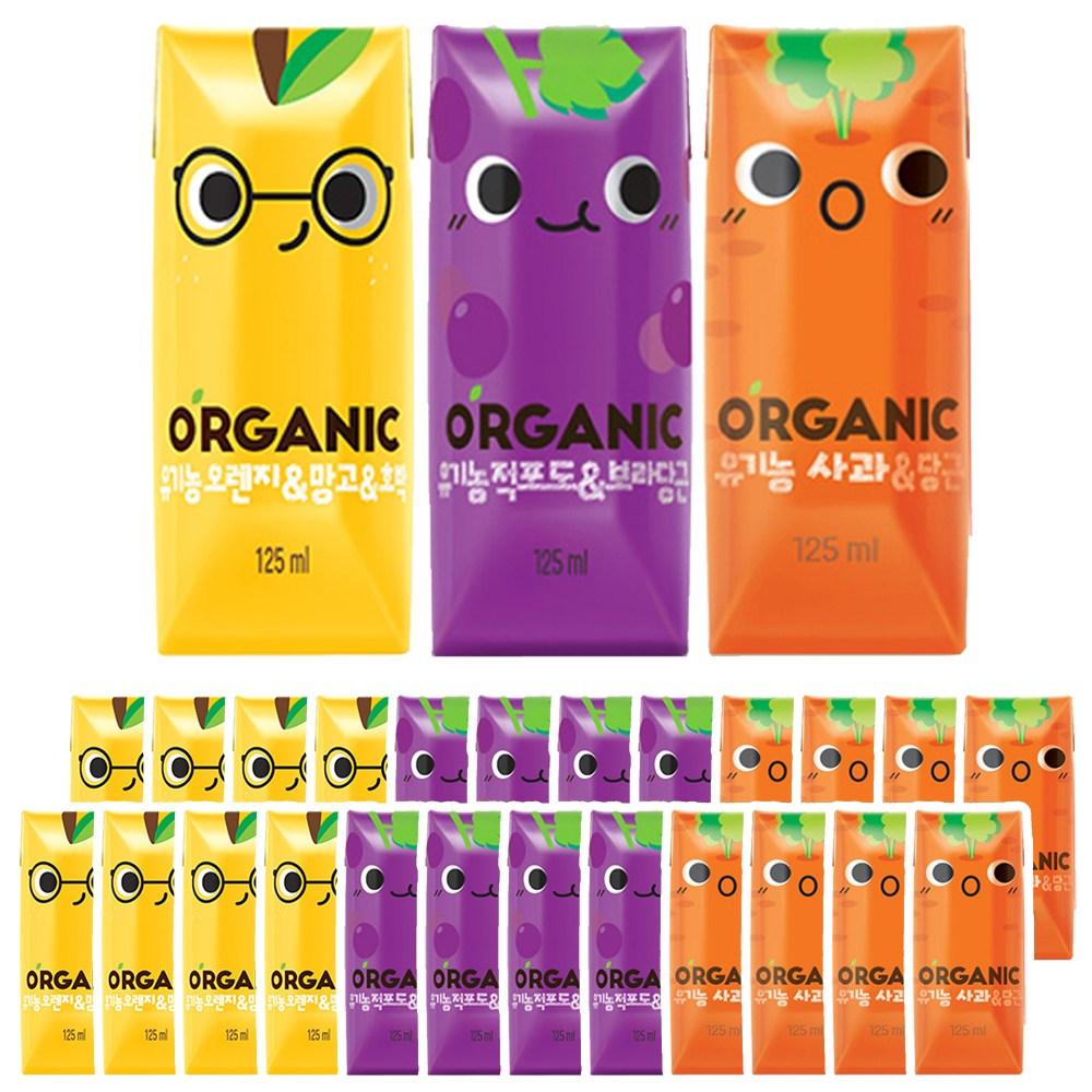 롯데칠성음료 크니쁘니 유기농 오가닉주스 오렌지/적포도/사과 3가지맛 각8개씩 (총24개)