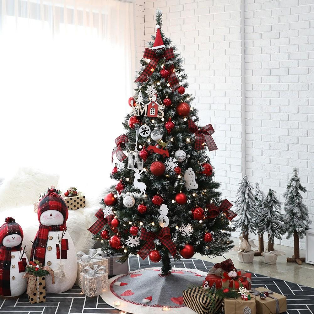 조아트 크리스마스 트리 풀세트, 프리미엄눈트리190CM_에리카레드