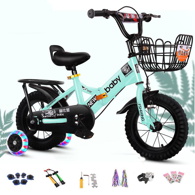 뉴타임즈6 보조바퀴자전거 어린이 자전거어린이 자전거 소년 접을수도 어린이 자전거 여자 차 XT07 A17, 30cm, 09 그린
