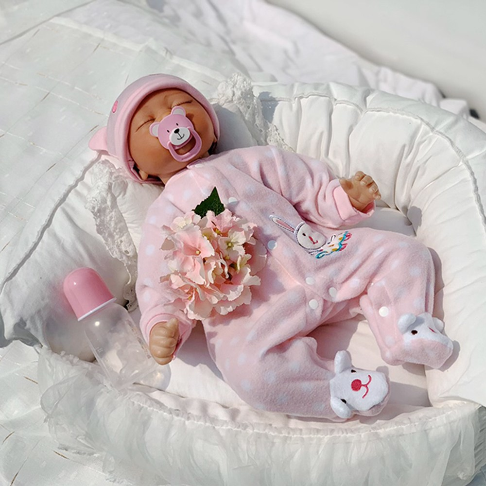 [당배]퍼스트패밀리 베렝구어 리본돌 베이비돌 애착인형 reborndoll 아기인형 핑크2 55cm