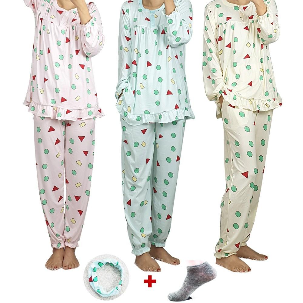 제니유 프릴 피치기모 여성 짱구잠옷세트 상의하의+헤어밴드+수면양말 4종세트
