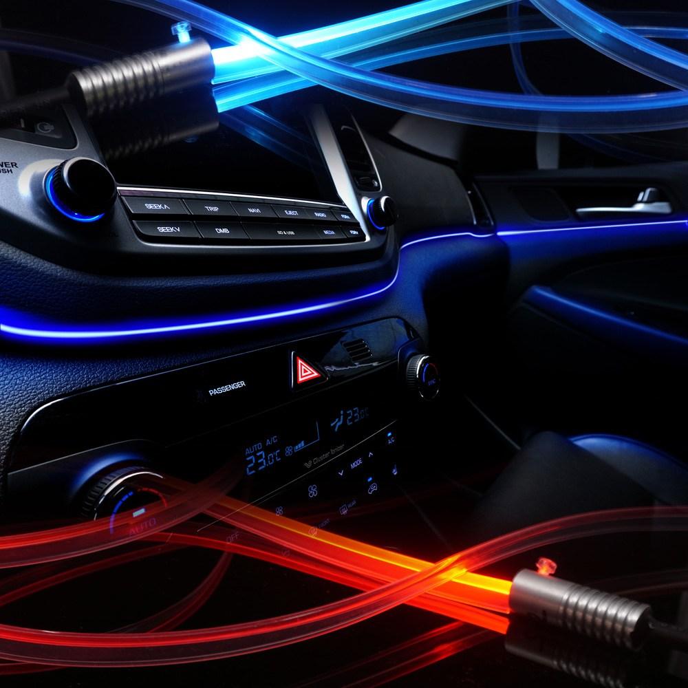 삼항LED 자동차량 12V용 3세대 엠비언트 무드등 라이트LED바 무소음 광섬유 EL와이어, 1개, 3W LED레드+광섬유몰딩 200cm