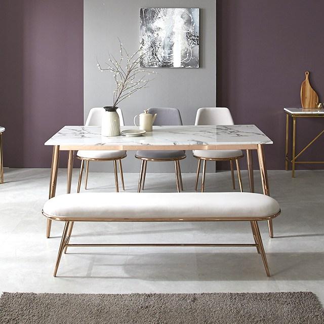 플레르가구 루아르 4인 6인용 인테리어 대리석 테이블 로즈골드 식탁 세트, 4인식탁(단품)