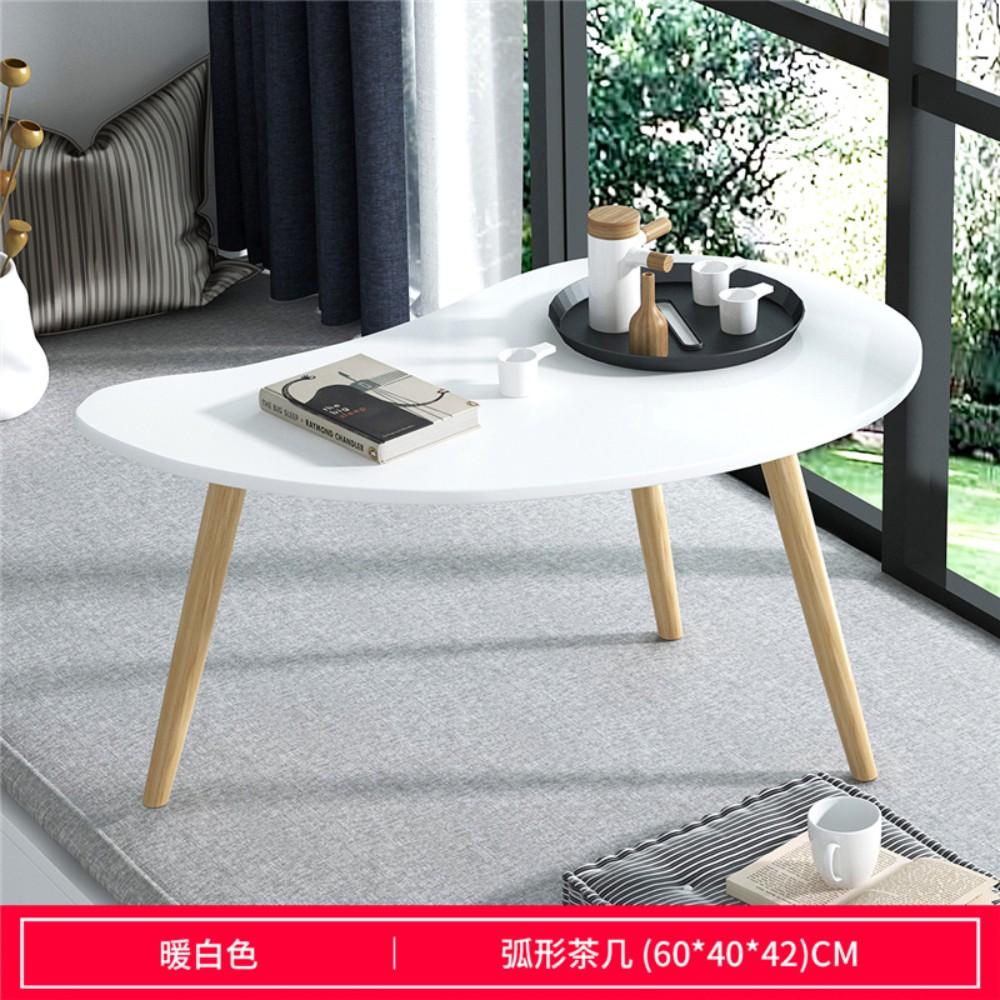화이트 우드 미니 카페 테이블, 【초승달 모양】 따뜻한 흰색 60 * 40 * 42cm