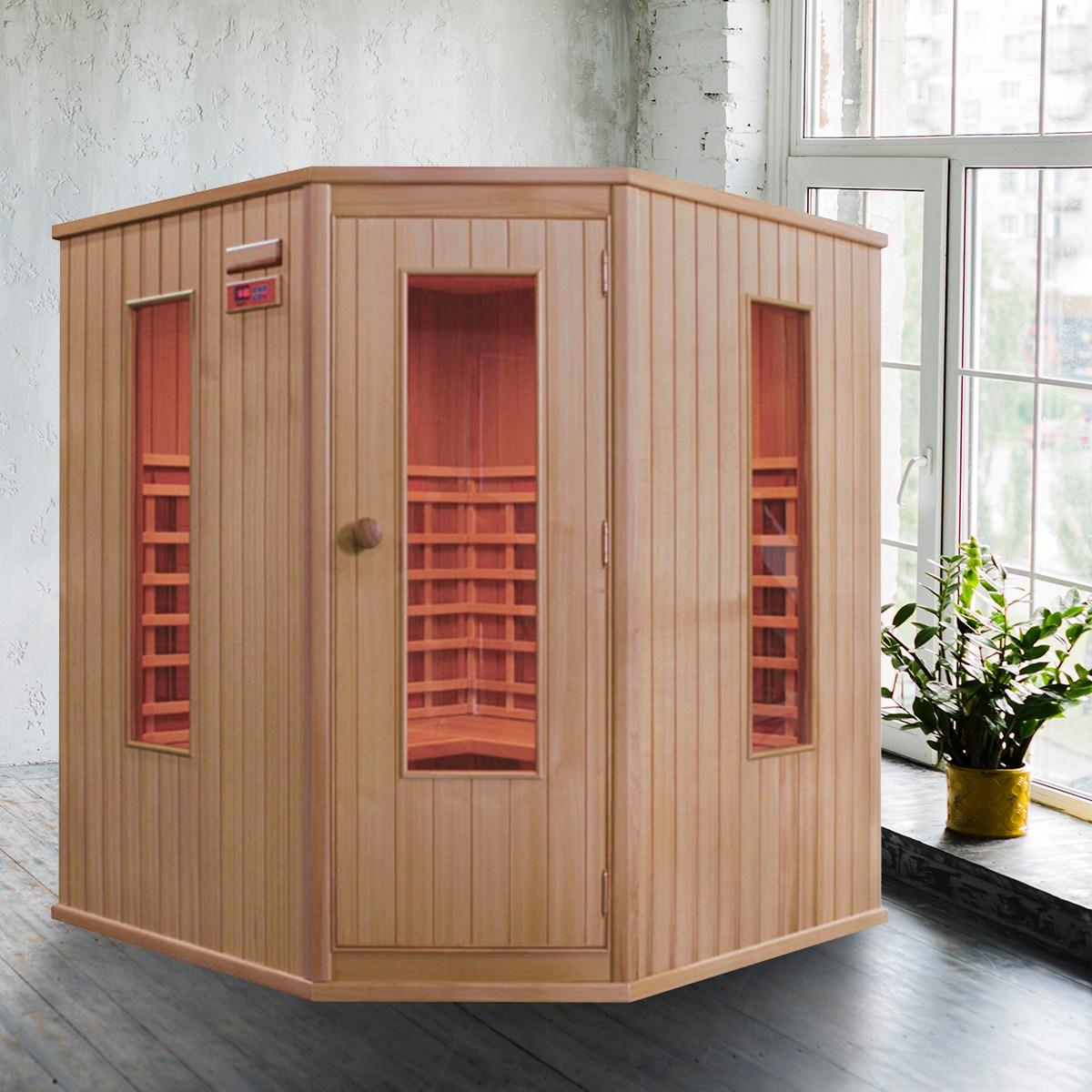 리치하우징 6인용 건식 찜질방 개인 사우나 반신욕기 가정용 좌훈 전신사우나 이동식 원적외선 160c, 핑크
