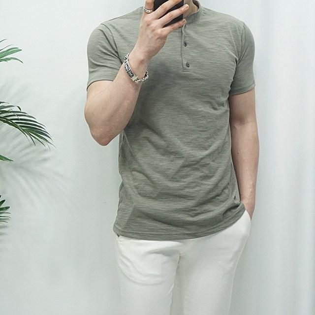 미꼬장 단독진행 남자 헨리넥 슬라브 봄여름 반팔 티셔츠, 카키