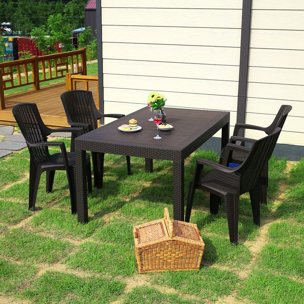 모니카 1500x900 4인 야외 테이블 세트, 테이블1ea+의자4ea