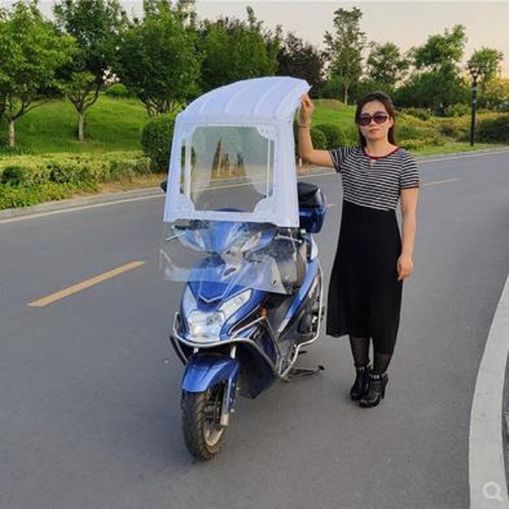 chinapnp3 어닝 배터리카 투피스형 전체투명 7라인 우산 전동 발판 오토바이 여름시즌 차양 바람막이, T09-2인 연장 투명핑크