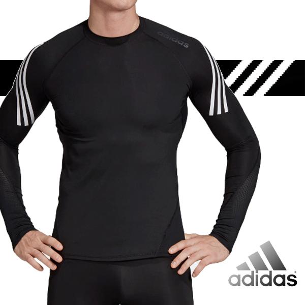 아디다스 테크핏 이너웨어 헬스복 3S 알파스킨 스포츠 롱 슬리브 삼선 티셔츠