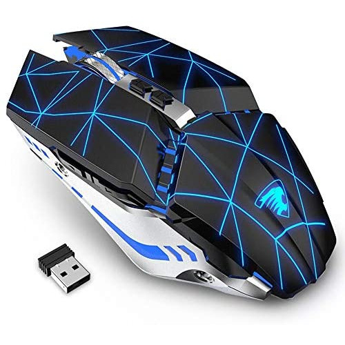 게이밍마우스 TENMOS T12 Wireless Gaming Mouse Rechargeable 2.4G Silent Optical Wireless Computer Mice with Changeable LED Light Compatible with Laptop, 본문참고, Color = starry black