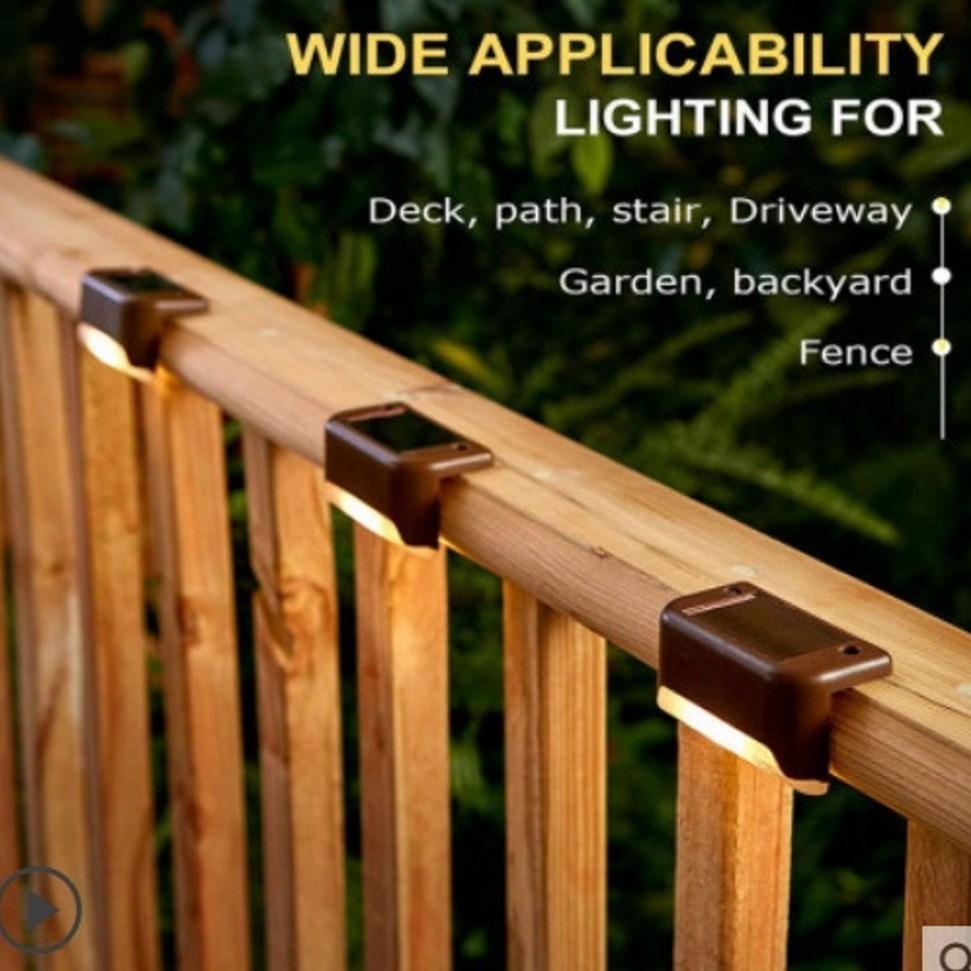 [해외직구] 정원조명 태양광충전 계단 LED램프 4개 1세트. 전원주택 카페 펜션 야외조명, 컬러색