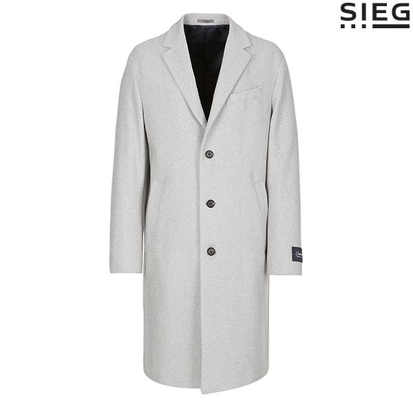 SIEG 캐시미어 블랜딩 울 라이트그레이 롱 코트(PWHAX7010)