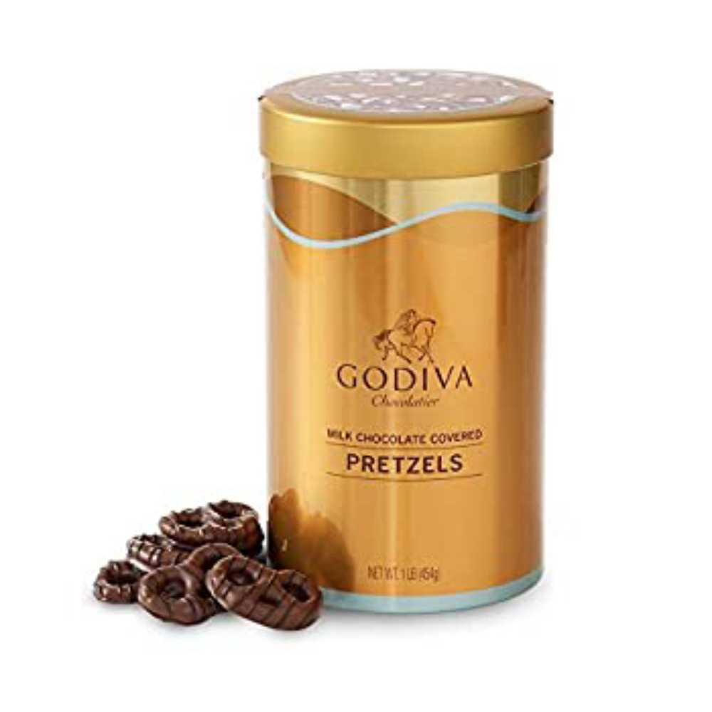 Godiva Chocolatier Assorted Milk Chocolate Covered Pretzels Gift Canister 66-Pieces, 1