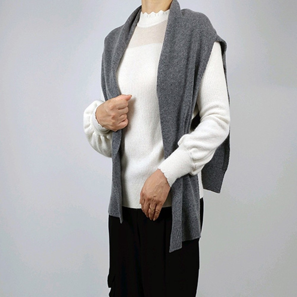 가을 겨울 간절기 흘러내리지 않은 간편착용 니트 레이어드 어깨 숄 망토 머플러 가디건