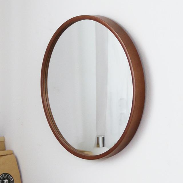 MJK 300 자작나무 슬림 원목 원형거울, 300 슬림 거울 - 월넛