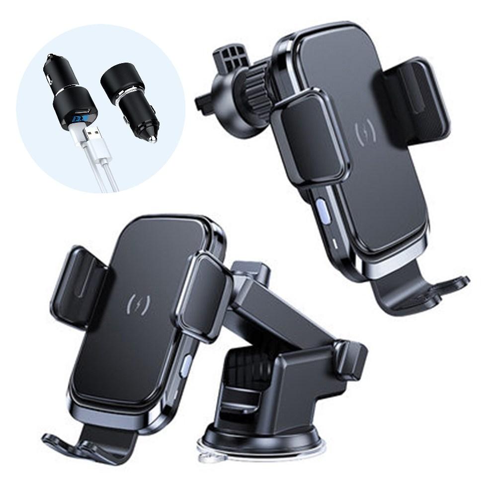 깽구 FOD 센서 무선충전 15W 차량용 핸드폰 거치대+송풍구형+부착형+LED 듀얼포트 고속충전 시거잭 세트, 블랙 (POP 4706052281)