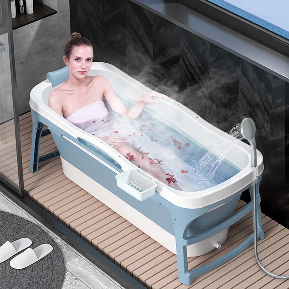 코펜하우스 이동식 특대 초특대형 성인접이식욕조 반신욕기 휴대용 헨리 1인용 간이 가정용사우나, 블루 (POP 5051220088)