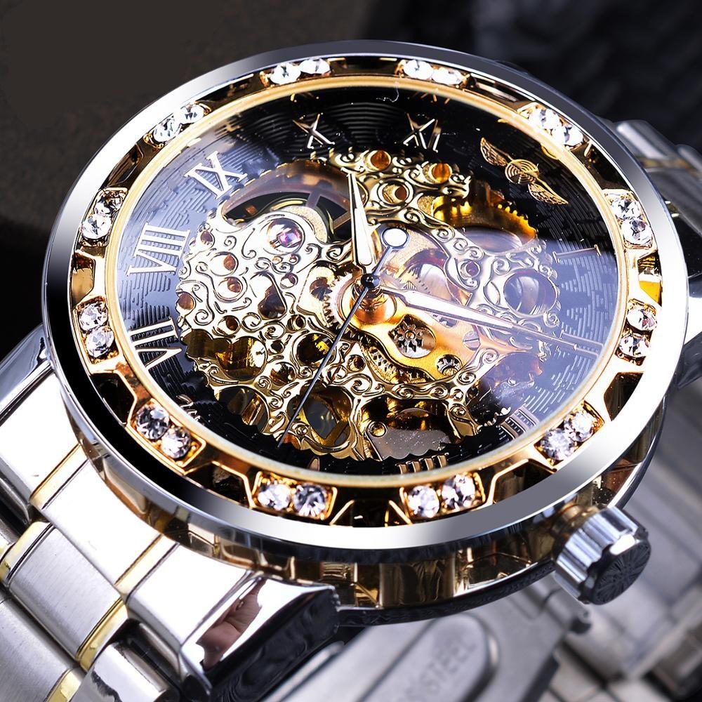 JUNHOMEDEC 남자손목시계 명품디자인 오토매틱 남자시계
