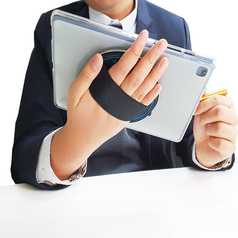 핸즈플렉스 휴대용 360도 회전 탭 거치대 갤럭시탭 S7플러스/ S6 S6라이트/S5e S4 S3 케이스 아이패드 에어 4세대 10.9인치 케이스 S5e SM-T720 T725, 샤인블루-블랙