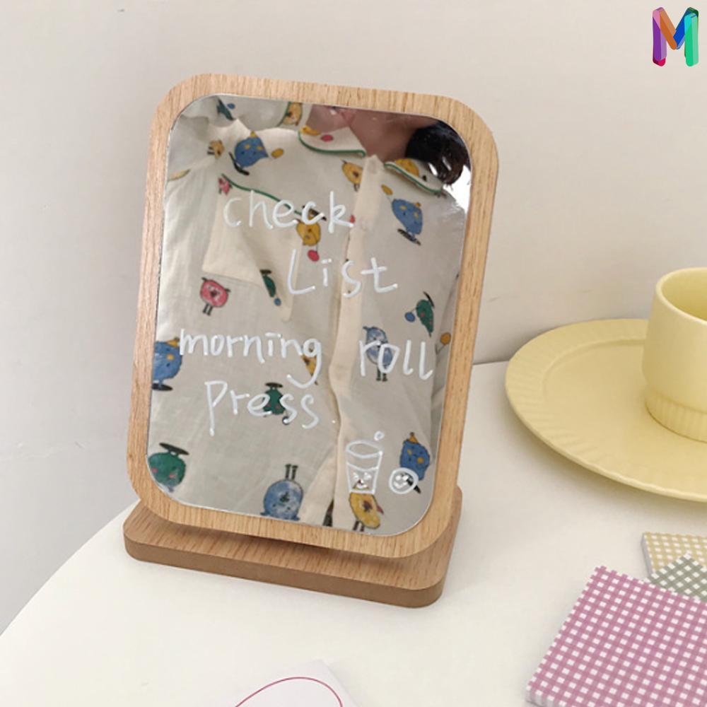 [더블엠] 우드거울 원목탁상거울 우드탁상 화장거울 촬영용 화장대 소품 탁상거울, 우드