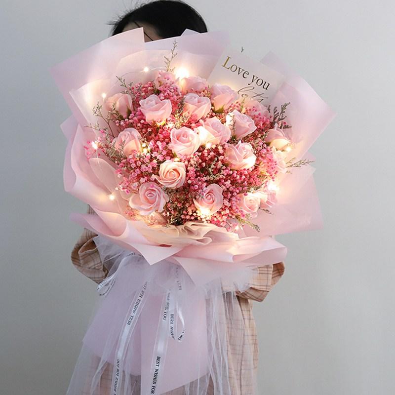 LED 대형 드라이플라워 꽃다발 꽃박스 졸업선물 축하 여자친구 이벤트, 장미꽃 핑크