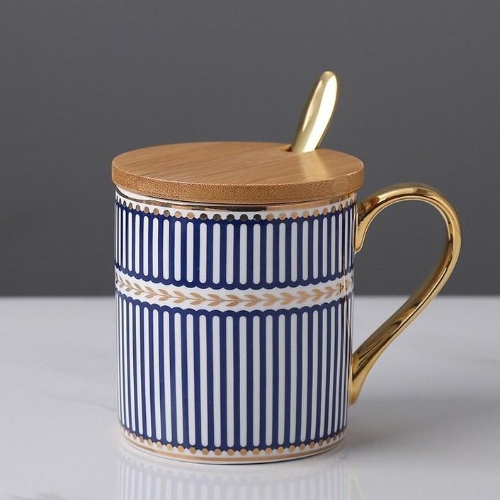 로로피아니 유럽풍 머그컵 독일디자인 명품 도자기 수제 카페 수입 헤르메스 찻잔, 스트라이프블루머그컵(커버+숫가락세트)