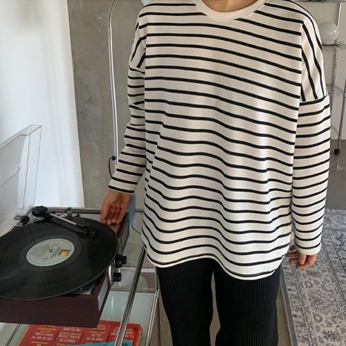 애플망고샵 2세트 둥근스트라이프 여성 캐주얼 단가라 간절기 긴팔 티셔츠