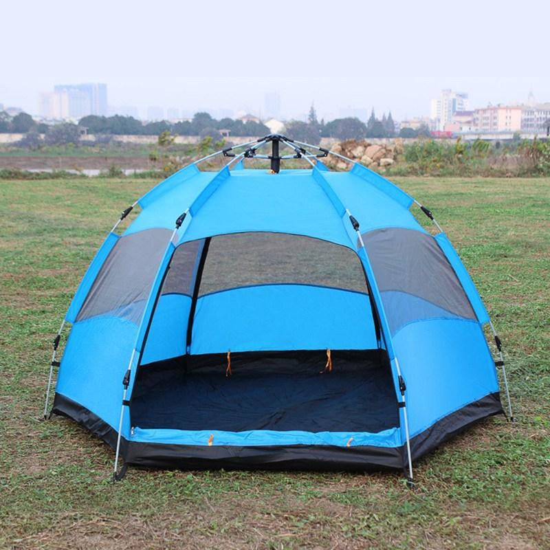 [유쉬터] 원터치 육각 텐트 5-6인용, 블루