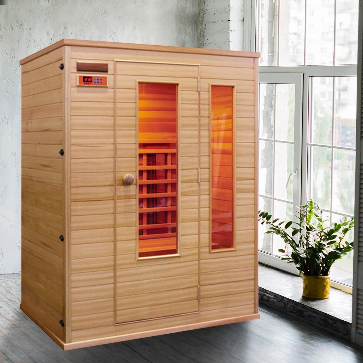 리치하우징 2인용 건식 찜질방 개인 사우나 반신욕기 가정용 좌훈 전신사우나 이동식 원적외선 140, 오렌지