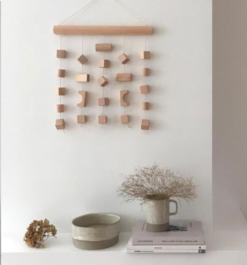 나혼자산다 박나래 벽장식 밀짚거울 라탄 소품, 너비 30 * 높이 30cm 나무 블록