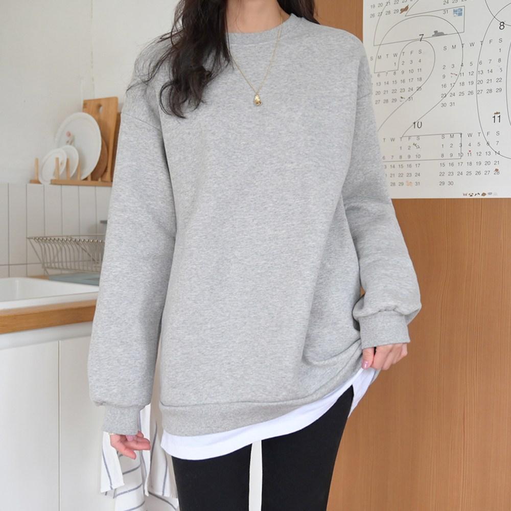 데일리앤 리나 여성 기모 레이어드 루즈핏 무지 롱 맨투맨 티셔츠
