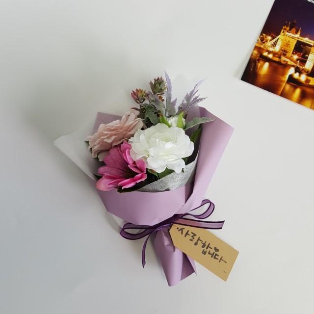 퐁당플라워 미니조화꽃다발 납골당꽃다발, 연보라 장미