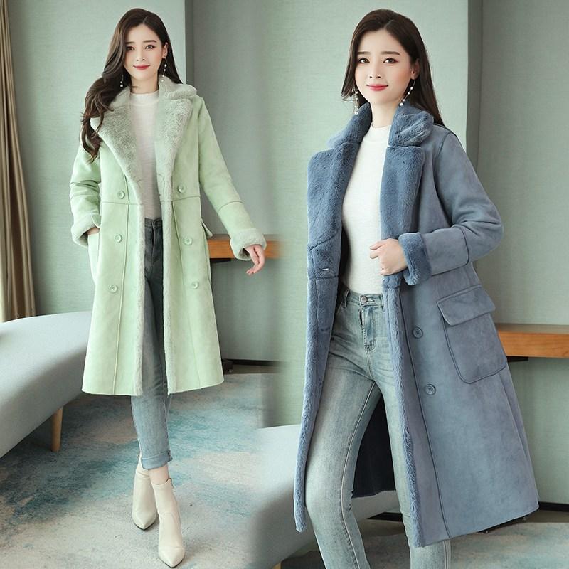 여성용 겨울 인조 무스탕 코트 L5W1906