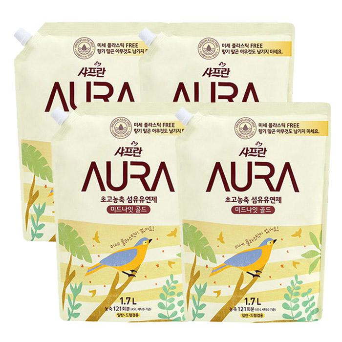 샤프란 아우라 초고농축 섬유유연제 미드나잇골드 리필, 1.7L, 4개