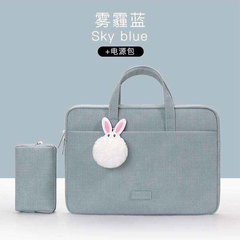 2020년 신상 애플 맥북 맥북프로 맥북에어 전용 노트북 파우치 케이스 가방, 새 매끄러운 [가죽] 방수 텍스처 모델-헤이즈 블루 + 파워팩-송아지 흰 토끼 보내기