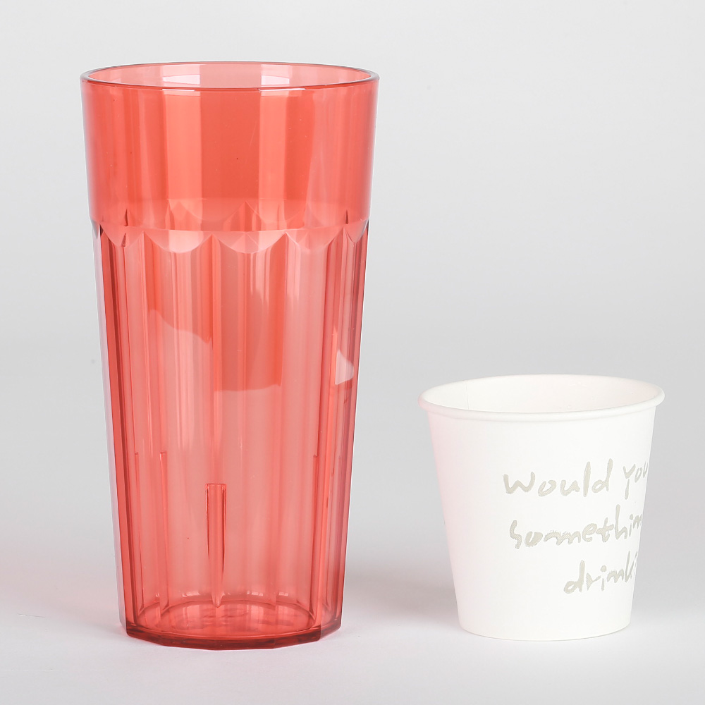 PC물컵 대형컵 600ml 업소/가정용 잘 안깨지는 안전컵, 연한레드