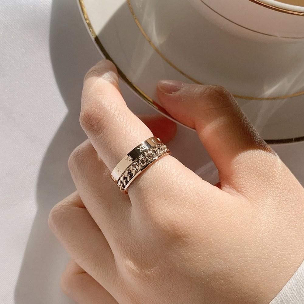 샤르에 써지컬스틸 로마숫자 중지 검지 두꺼운 반지