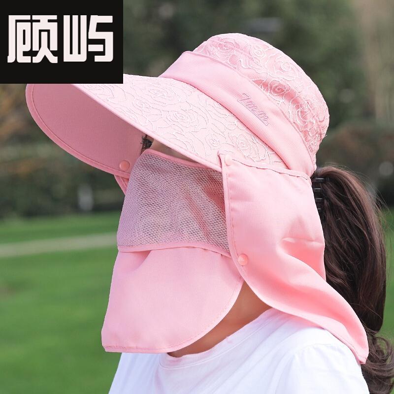 (구 애 받 지 않 음) 위 더 운 날씨 에 쓰 이 는 큰 연 선 모자 여자 가을 에 자전 거 를 타고 얼굴 을 가리 고 큰 차양 모 자 를 쓰 는 태양 모 자 를 쓴 차 가운 모자 밑 에서 일 을 할 때 선 캡 은 분홍색 조절 이 가능 하 다.