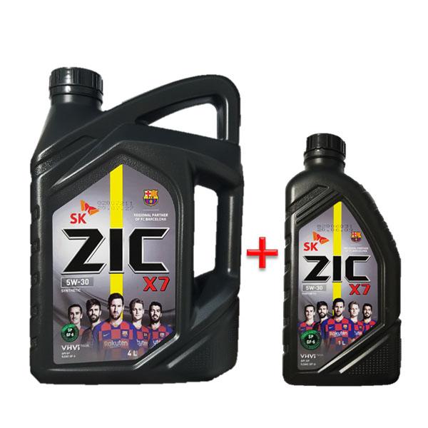 ZIC X7 5W30 SP 4L 1개 +1L 가솔린 엔진오일, ◆ 지크 X7 5W30 4L 1개+1L◆1개◆